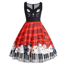 4685ab52085a77 Mode Vrouwelijke Kant Mouwloze Party Vintage Jurk Kat Muzieknoot Printing  Womens Jurken elegante Dames kleding gewaad femme