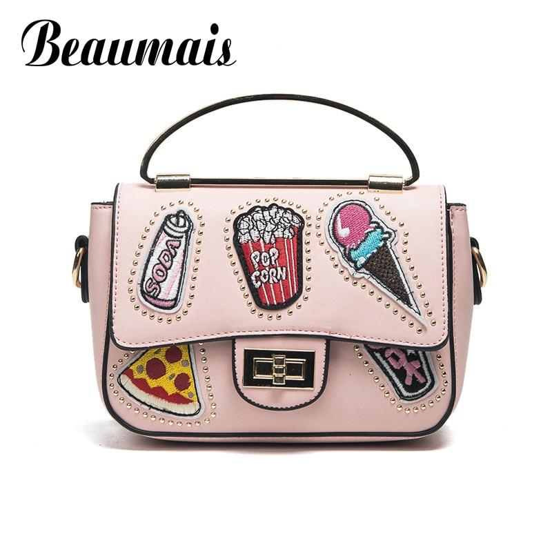 Beaumais Summer Style Pu Leather Women Mini Handbags Ice Cream Women Messenger B