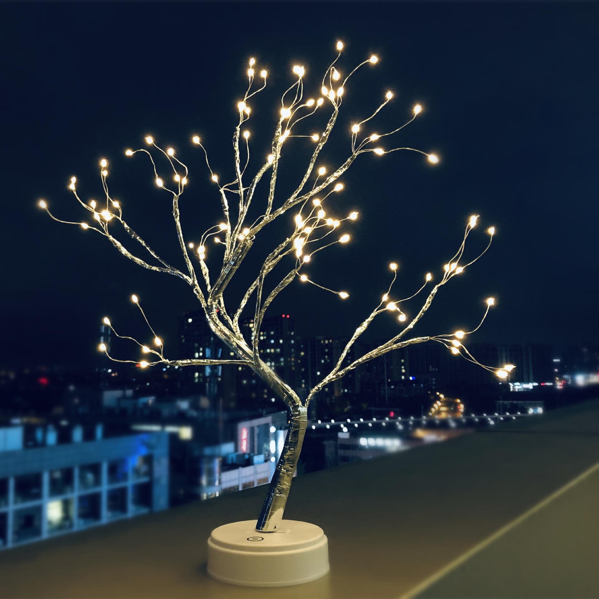 LED arbre lumières batterie/USB alimenté anniversaire cadeaux lampe de Table intérieur LED chaîne lumière pour fête décoration de la maison arbre de noël