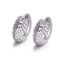 MxGxFam полые белые серьги-кольца для женщин и девочек белого золота цвет одежда высшего качества AAA+ кубический циркон