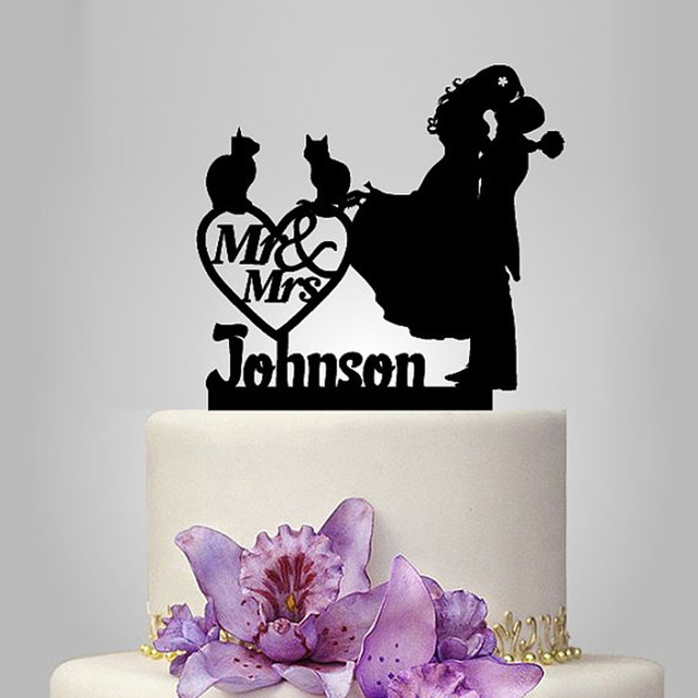 2017 Personalized Acrylic Hy With 2 Cats Wedding Cake Topper Stand