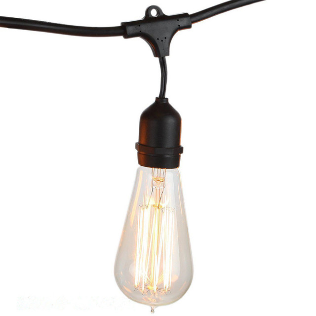 String Light Company Vintage 48 Ft Outdoor Commercial Lights With 15 Suspended Sockets And Clear S14 Bulbs E27 Globe