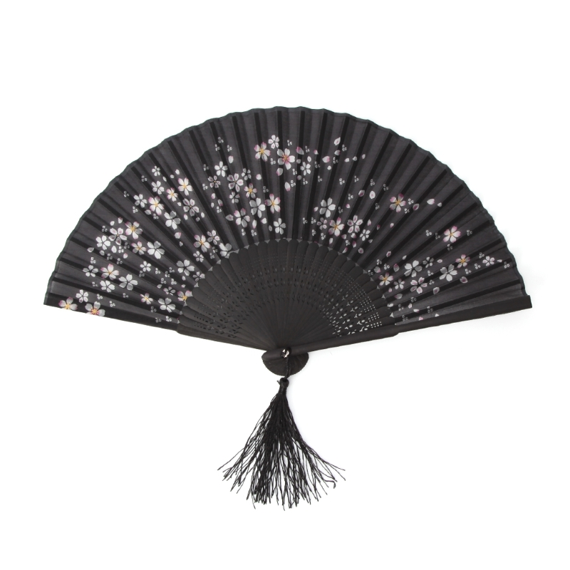 Black Chinese Style Hand Held Folding Silk Fan For Wedding Event And Party Supplies