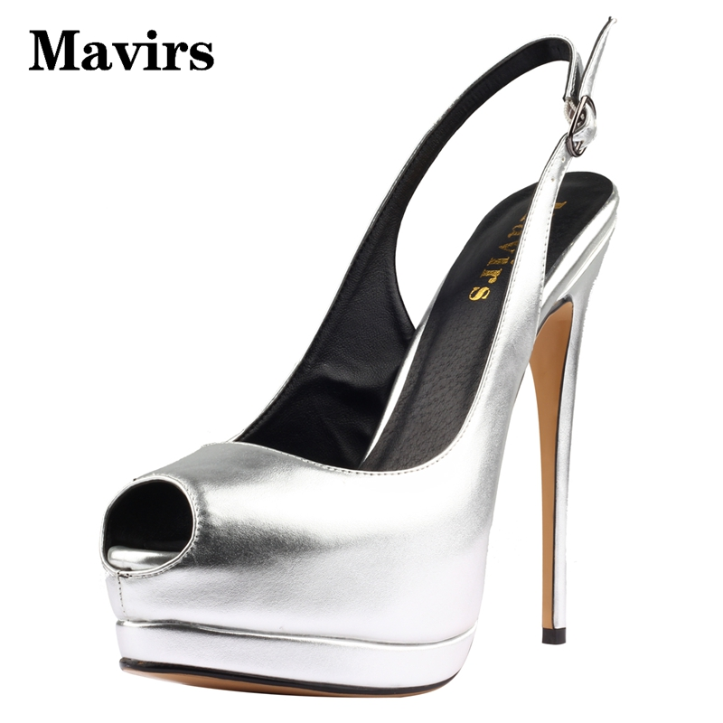 MAVIRS Peep Toe Ankle Strap Super High Heels Platform Sliver Women Sandals Pumps Stiletto Party Wedding Shoes Thin Heels Metal avvvxbw 2017 spring women s pumps high heels platform shoes diamond peep toe thin heels sexy women s wedding shoes pumps c372