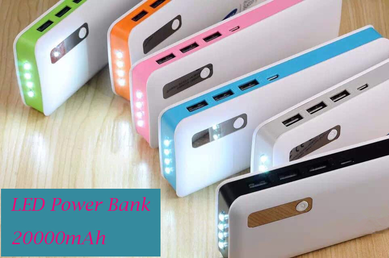 imágenes para 20000 mAh Banco de Potencia con 4 luces LED 3USB Cargador Rápido de salida Externa Powerbank para el teléfono Móvil Samsung S8/Xiaomi