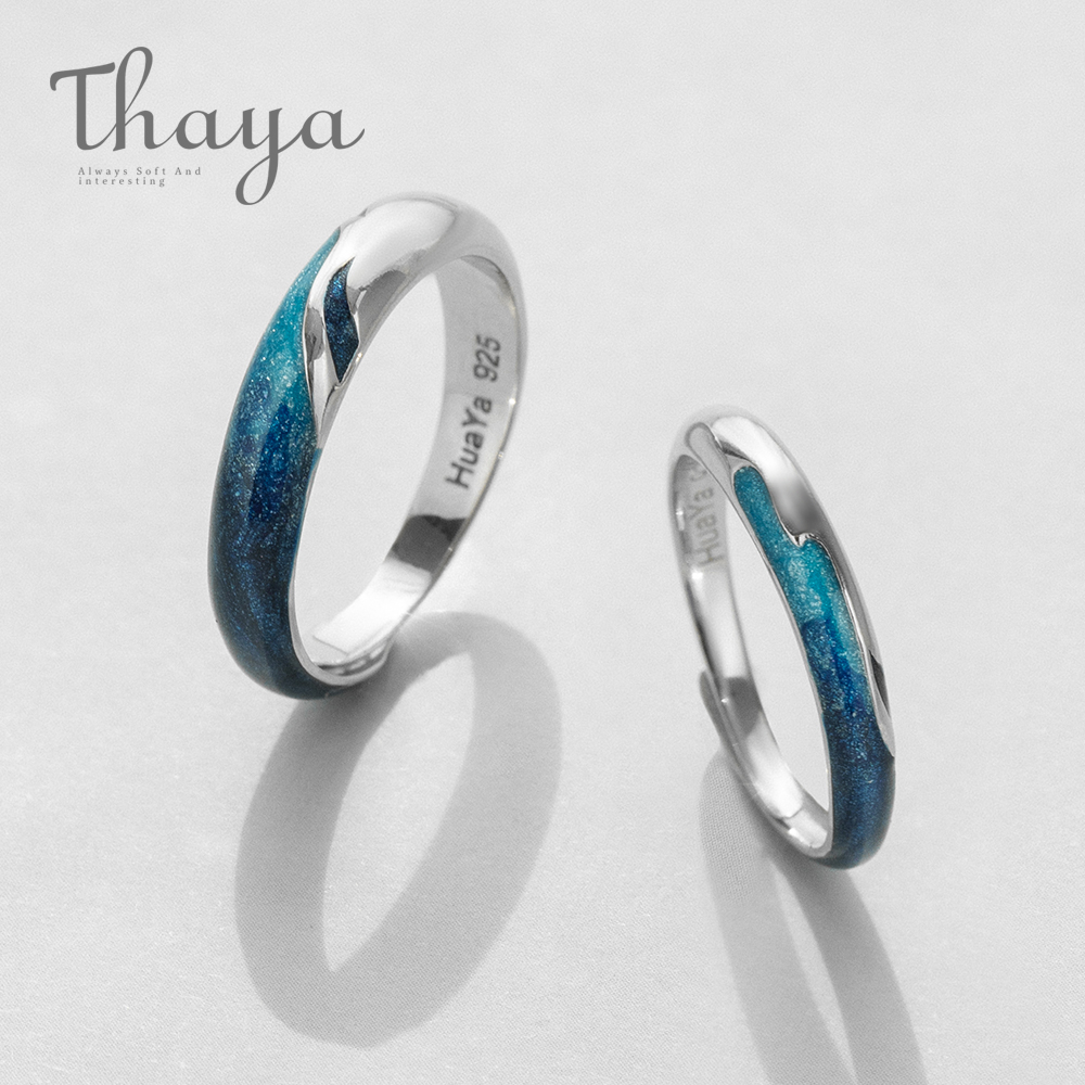 Thaya Bright Shining River Emerald Rings s925 Silver Circular Soft Blue Romantic Jewelry Ring for Women Elegant Simple Gift(China)