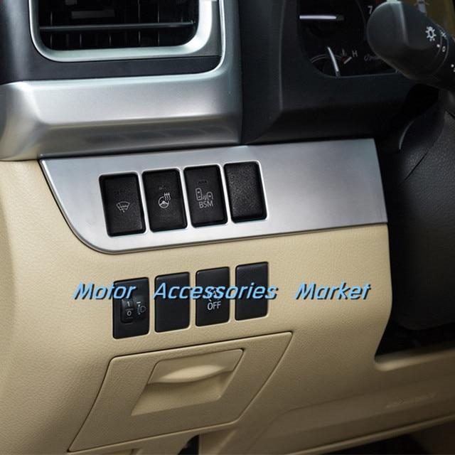 Nova Matt Cromo Interruptor De Luz Console Do Painel Guarnição Para Toyota  Highlander 2014 2015 2016