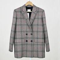 Phụ nữ Châu Âu new winter 2017 wool coat ladies phong cách cổ điển phục hồi ancient đôi vú áo khoác áo kẻ sọc