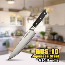 SS-0085 8 Inch (200mm) Chef Knife 3 Layers AUS-10 Japanese Stainless Steel G10 Black Handle Kitchen Blade Chop Cutting