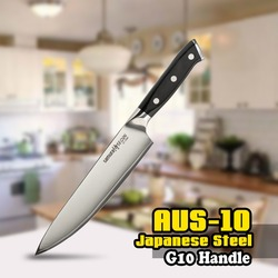 TUO CUTLERY Chef Knife - 3 Layers AUS-10 Japanese High Carbon Kitchen Knife with Ergonomic G10 Black Handle - 8'' (203mm)