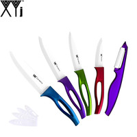 XYJ Brand Multi Color Handle White Blade Ceramic Knife One Peeler Fruit Utiltiy Slicing Chef 3
