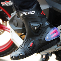 Botas Hombre PU leather Motorcycle Boots Speed Bikers Moto Racing Motocross Ankle joint Cycling protection shoes