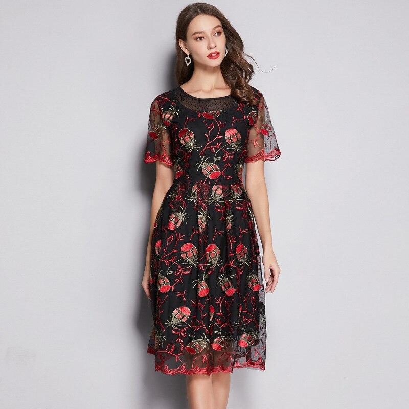 Haute qualité 2019 été robe de grande taille pour les femmes élégant net fil décontracté manches courtes floral broderie grandes robes 4XL 5XL