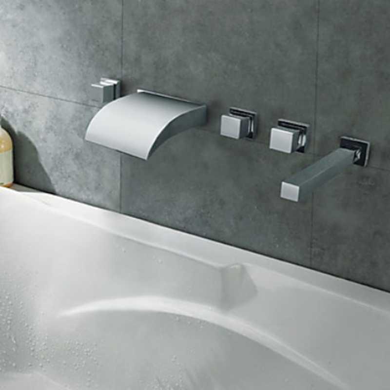מודרני LED שינוי רחצה אמבטיה ברז מים ברז סיפון רכוב 5PC