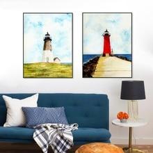 Vintage mar de acuarela faro Blancanieves cartel de caballo Pared de salón arte estampado pintura decoración del hogar lienzo pintura personalizada