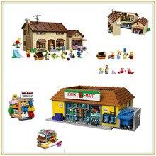 W MAGAZYNIE Lepin 16004 16005 The Simpsons Homer Bart w Kwik-E-Mart Action Figures Modelu Budynku Blok klocki Kompatybilne 71016