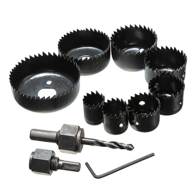 11Pcs/set DIY Hole Saw Bit Cutting Kit 19-64mm 3/4 to 2 1/2 Wood Sheet Metal Alloys Circular Round Case Drill Bits with Case new 50mm wall hole saw drill bit set 200mm connecting rod with wrench mayitr for concrete cement stone