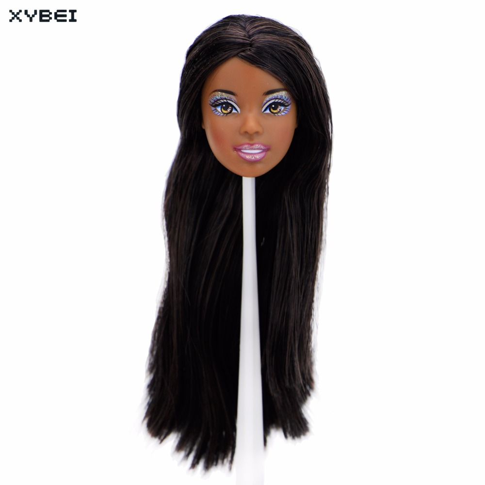 One Pcs High Quality Doll Head Black Straight Hair Flash Eye Shadow DIY Accessories For 12 Doll Kids Dollhouse Baby Gift Toy high quality doll head brown curly hair long eyelashes with fashion earrings diy gift accessories for 1 6 12 doll kids toy gift