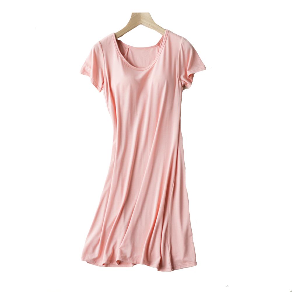 144d957d23 Women Casual Night Dress Sleepwear Built in Bra Padded Short Sleeve Solid  Nightgown Lounge Dress Female Night Sleeping Dress