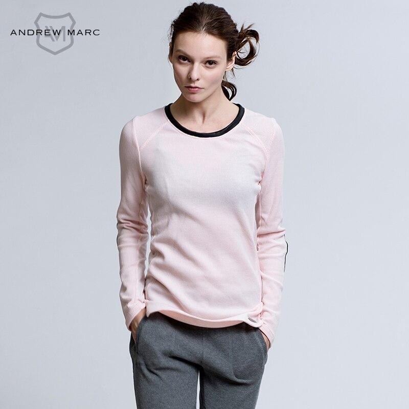 Andrew Marc 2016 Для женщин с длинными рукавами и круглым вырезом с pu хлопковый топ футболка для женщины тонкий Модная Футболка женская tn6t9210
