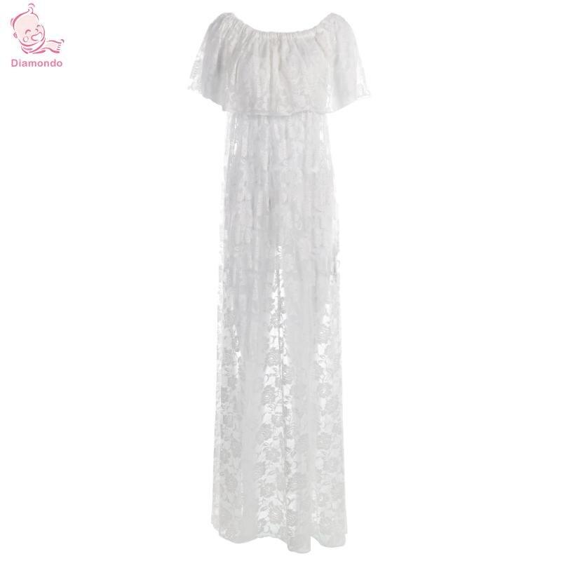 Maternity Photography Props Maternity Dress White Lace Sexy Maxi Dress Elegant Pregnancy Photo Props Women Maternity Lace Dress