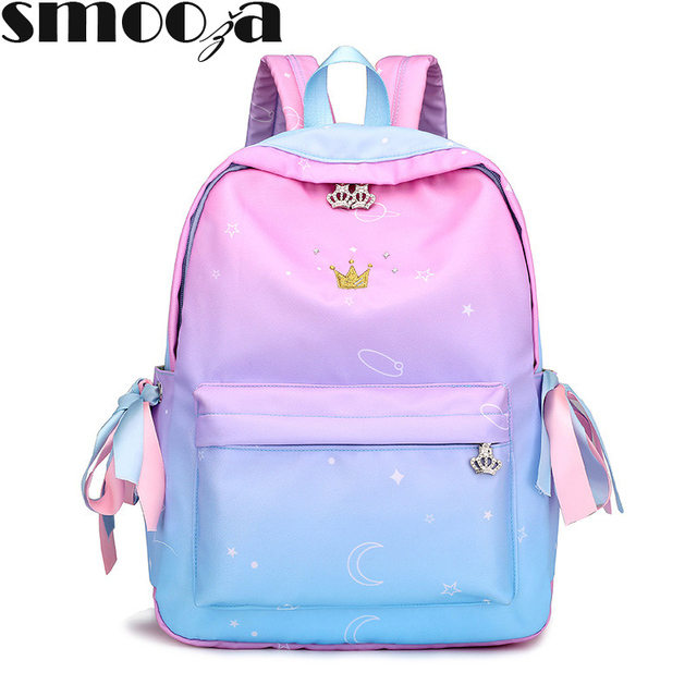 SMOOZA Canvas Plain Stylish Galaxy Star Minimalism Best Backpack For Girl  Female New Travel Leisure Women 9ce3e02555a93