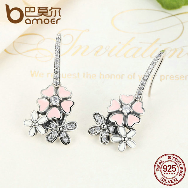 925 Sterling Silver Pink Daisy Cherry Blossom Drop Earring 3