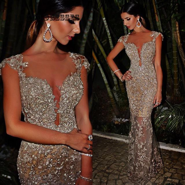 Luxury Mermaid Silver Beads sequins rhinestones Long Evening Dress Abendkleider 2019 Formal Dresses women Vestidos De Festa in Evening Dresses from Weddings Events
