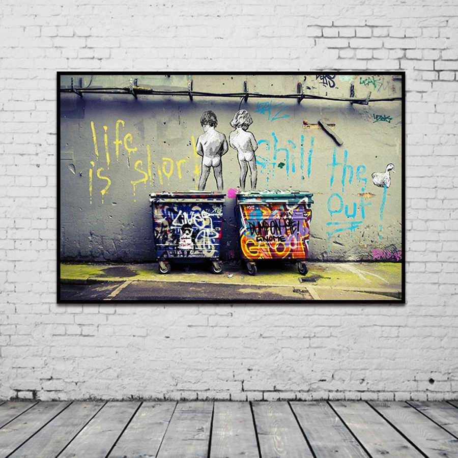 "Banksy Graffiti Art Abstract Canvas Painting Posters and Prints ""Life Is Short Chill The Duck Out"" Wall Canvas Art Home Decor"