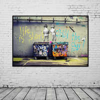 """Banksy Graffiti Art Abstract Canvas Painting Posters and Prints """"Life Is Short Chill The Duck Out"""" Wall Canvas Art Home Decor"""