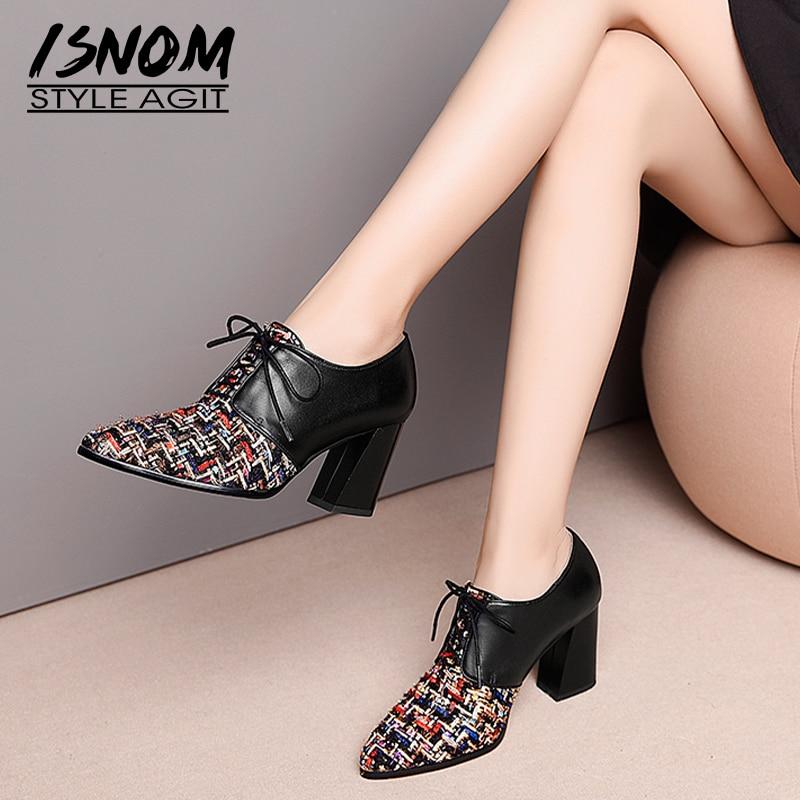 Ayakk.'ten Kadın Pompaları'de ISNOM Yüksek Topuklu Kadın Pompaları Sivri Burun Çapraz Bağlı Ayakkabı Baskı Hakiki Deri Bayan Ayakkabıları moda ayakkabılar Kadın 2019 Bahar'da  Grup 1