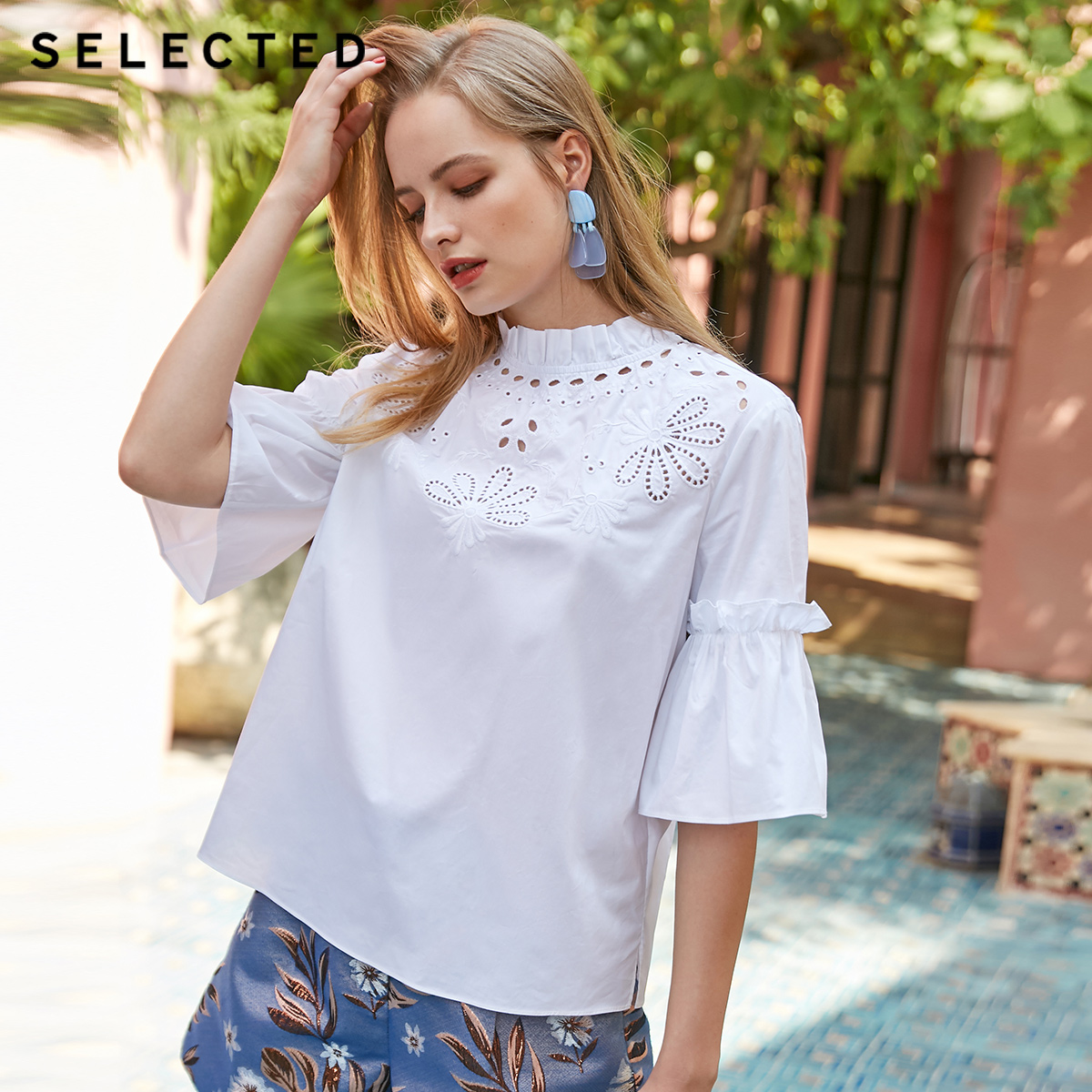 SELECTED Women s Summer 100 Cotton Ruffled Cut out White T shirt S 419241505