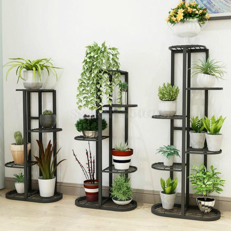 Wrought Iron Balcony Living Room Interior Modern Decoration Floor-standing Multi-layer Flower Shelf Storage Flower Pot Shelf