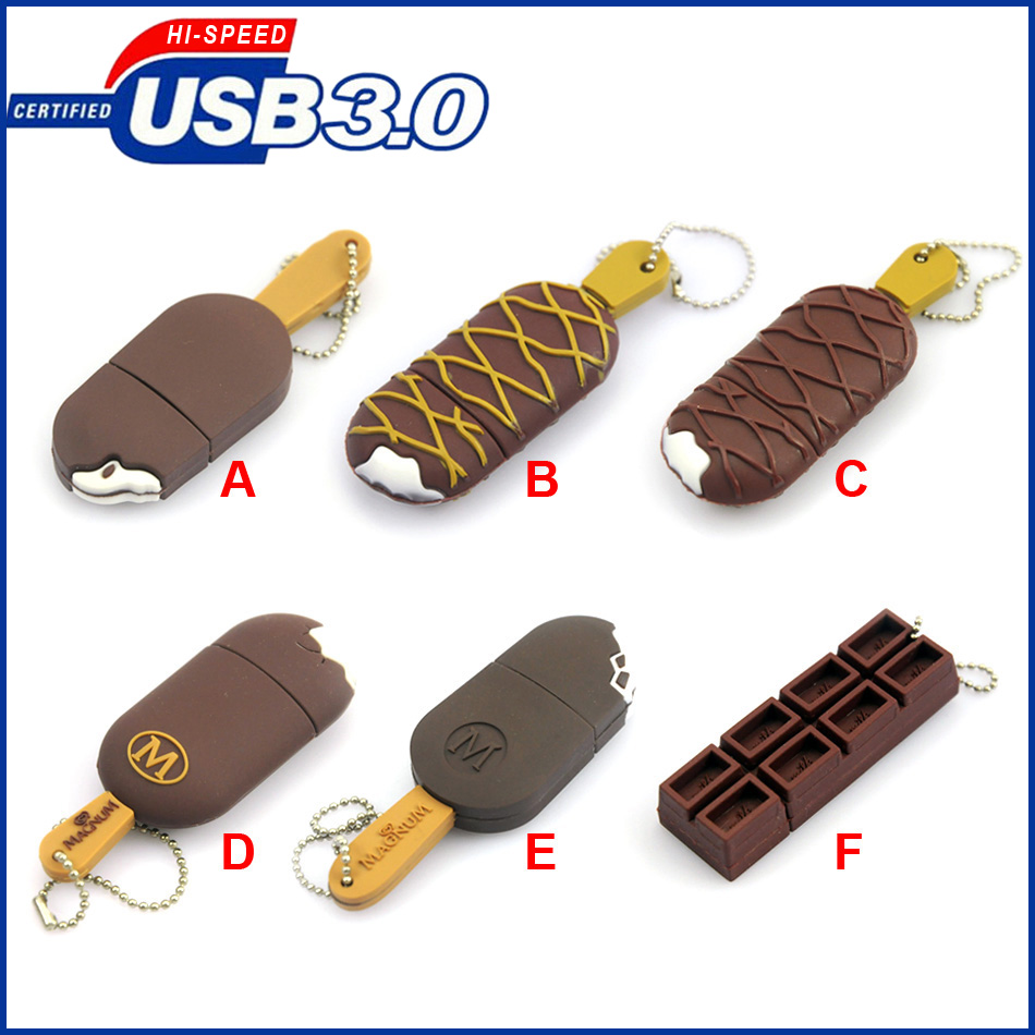 USB3.0 32gb, high speed usb flash drive 8gb/16gb/32gb/64gb, Simulation ice cream pen drive, usb3.0 thumb usb memory disk gifts ice cream style usb 2 0 flash drive disk brown white 16gb