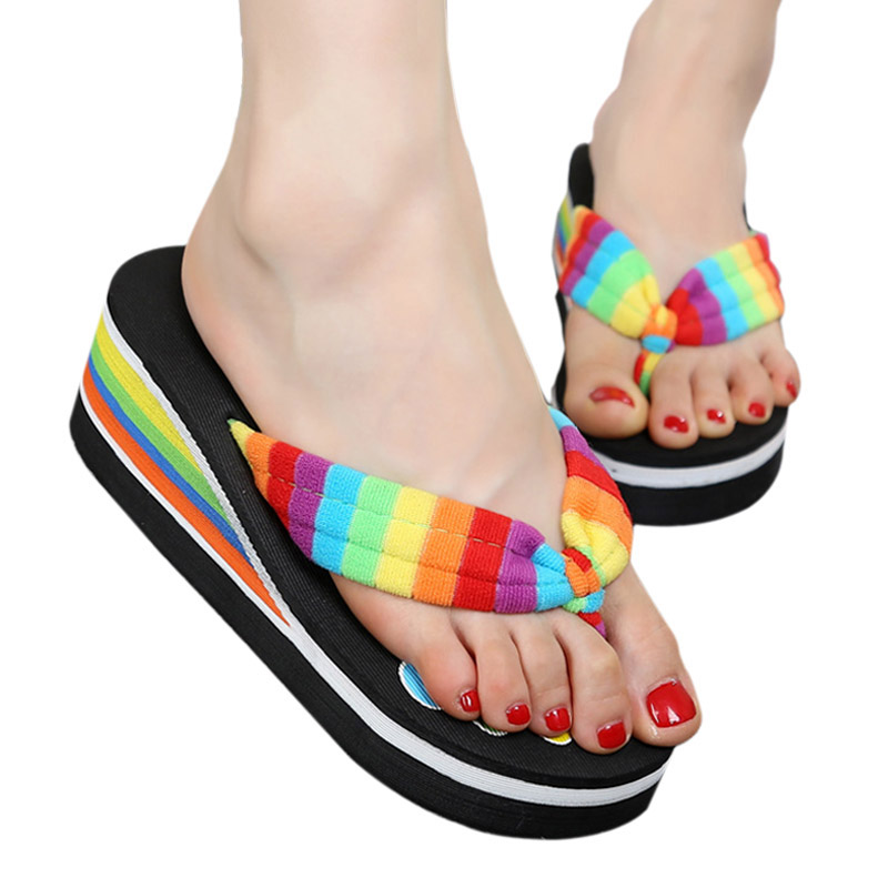 2017 NWE Hot High Heels Women Flip Flops Summer Sandals women Slippers Girl's Fashion Beach Shoes AF190