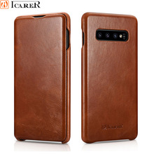 S10 Plus Luxury Genuine Leather Curved Edge Case for Samsung Galaxy Retro Ultra thin Flip + Cover