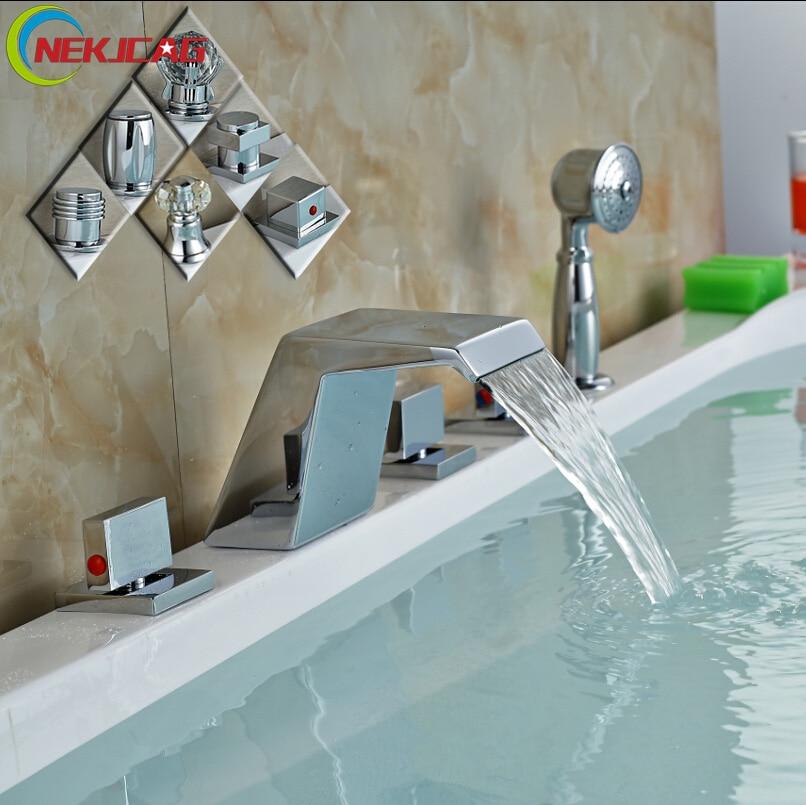Brand New Waterfall 3 Handles Roman Bathtub Faucet Deck Mount Tub Sink Mixer Tap Chrome Finished 5PCS chrome finished deck mount waterfall bathtub mixer taps 5pcs 5 holes bathroom sink faucet w led light