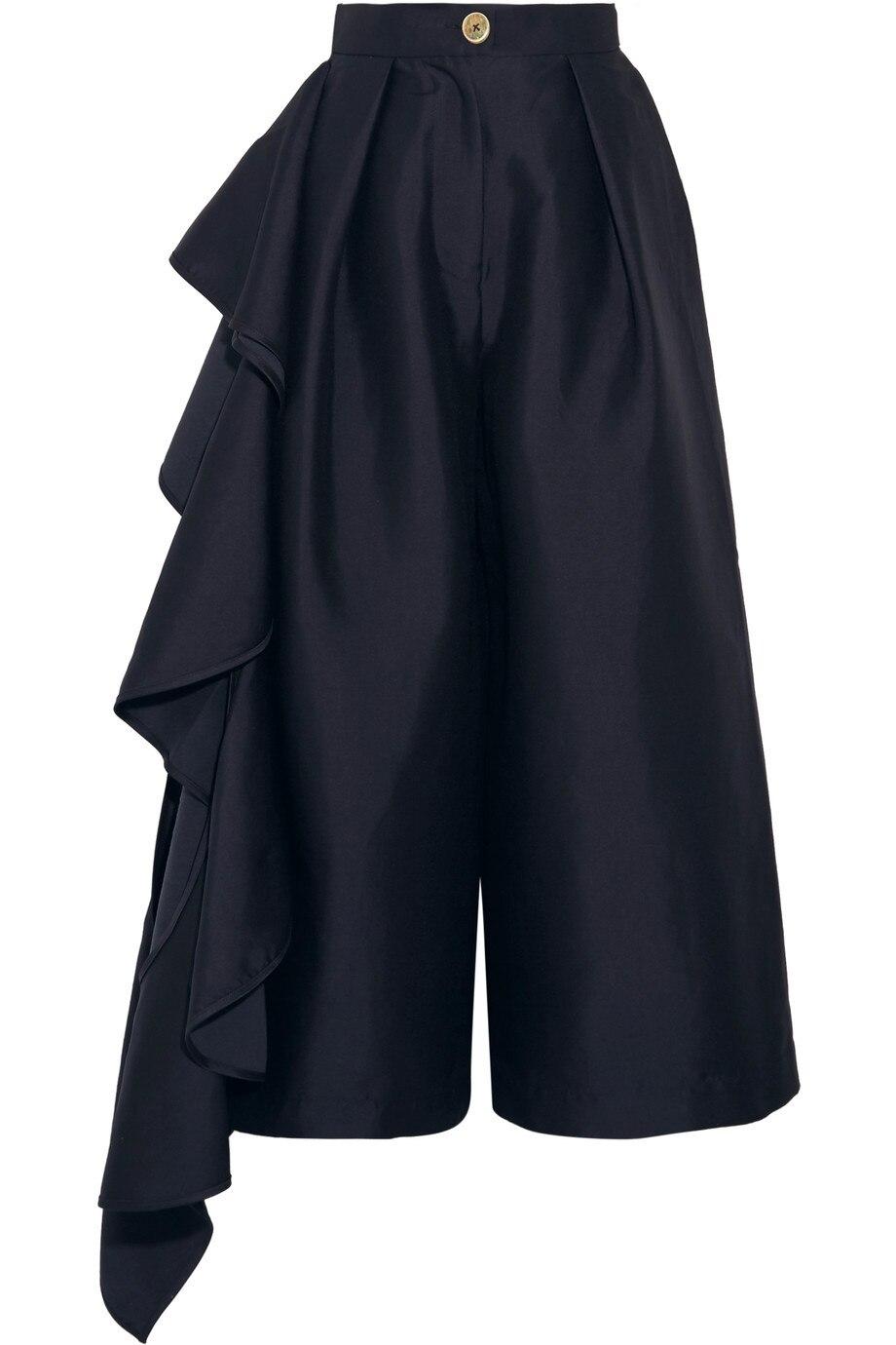 Solide Lotus Épissage Oloey2018 Feuille Blue Irrégulière Sept Femmes Large Dames Navy Points Jambe Pantalon Haute Lâche Taille De Automne Q497 YXwqRPw