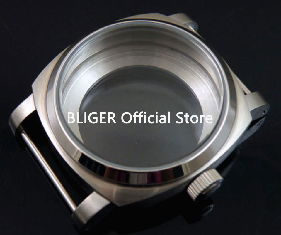 Top quality BLIGER 44mm stainless steel mineral glass case kit fit 6497 6498 ST36 movement watch case A5 46mm matte silver gray stainless steel watch case fit 6498 6497 movement watch part case with mineral crystal glass