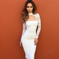 2017 Years Supply Bursts Lace Long Sleeves Nightclub Sexy Dress