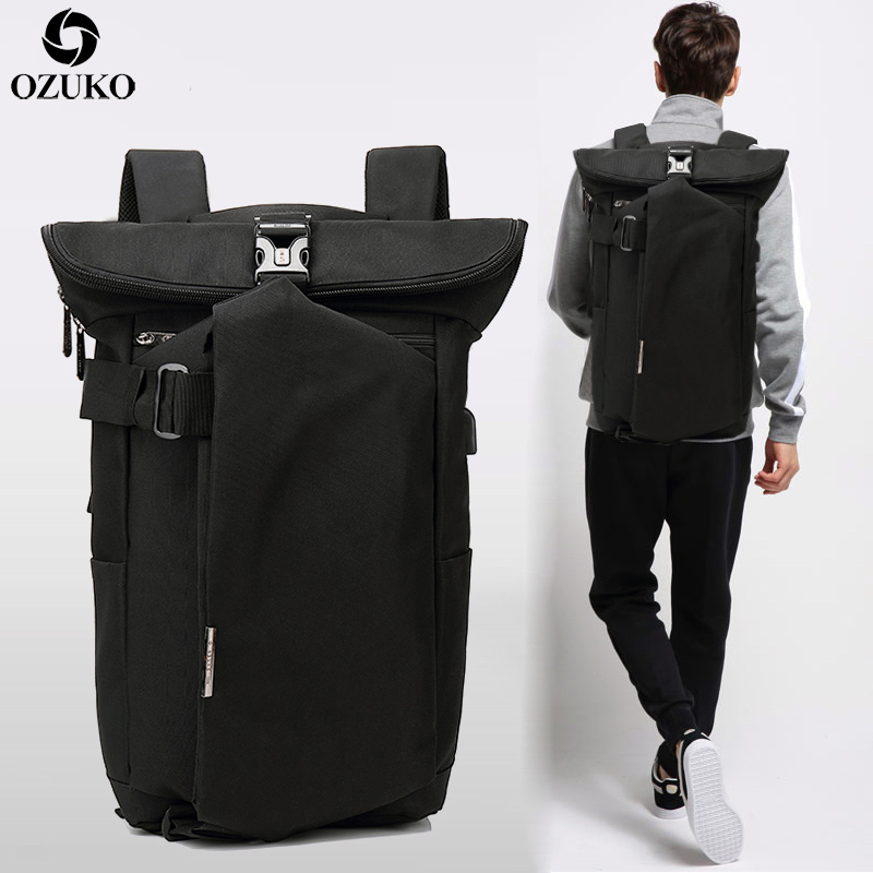 OZUKO Men's Backpack Black USB Charging Anti-Theft Laptop Backpack Travel Mochila Fashion Male Large Capacity College School Bag ozuko new 15 6 inch laptop bag usb charging anti thief backpack men s casual school bag waterproof large capacity travel mochila