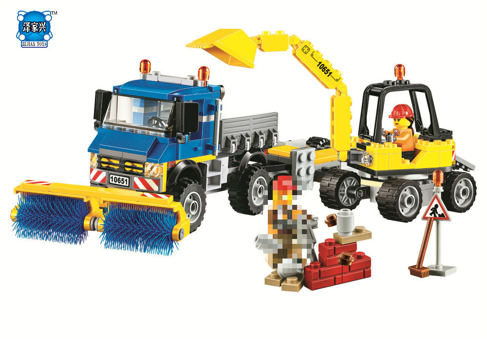 HOT SALE City Vehicles Sweeper & Excavator Building Blocks Sets Bricks Kids Figures Toy Compatible Lepins & Bela Classic Model hot city series aviation private aircraft lepins building block crew passenger figures airplane cars bricks toys for kids gifts