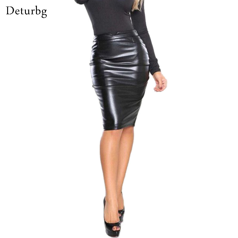 Womens New Sexy Flocking Faux Leather Pencil Midi Skirts Casual Ladies PU Skirt XXL Longa Saias 5 Colors 2018 Spring NTDR-8016