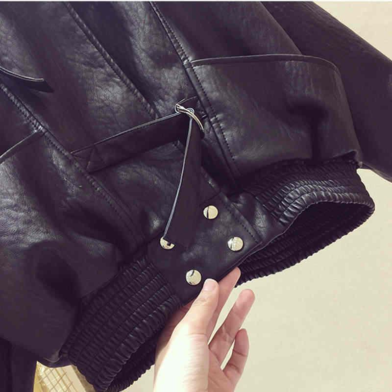 Plus Size Faux Motorcycle Black PU Leather Jacket Women Chaqueta Mujer New Spring Bomber Jacket Women Ladies Leather Coat C4353