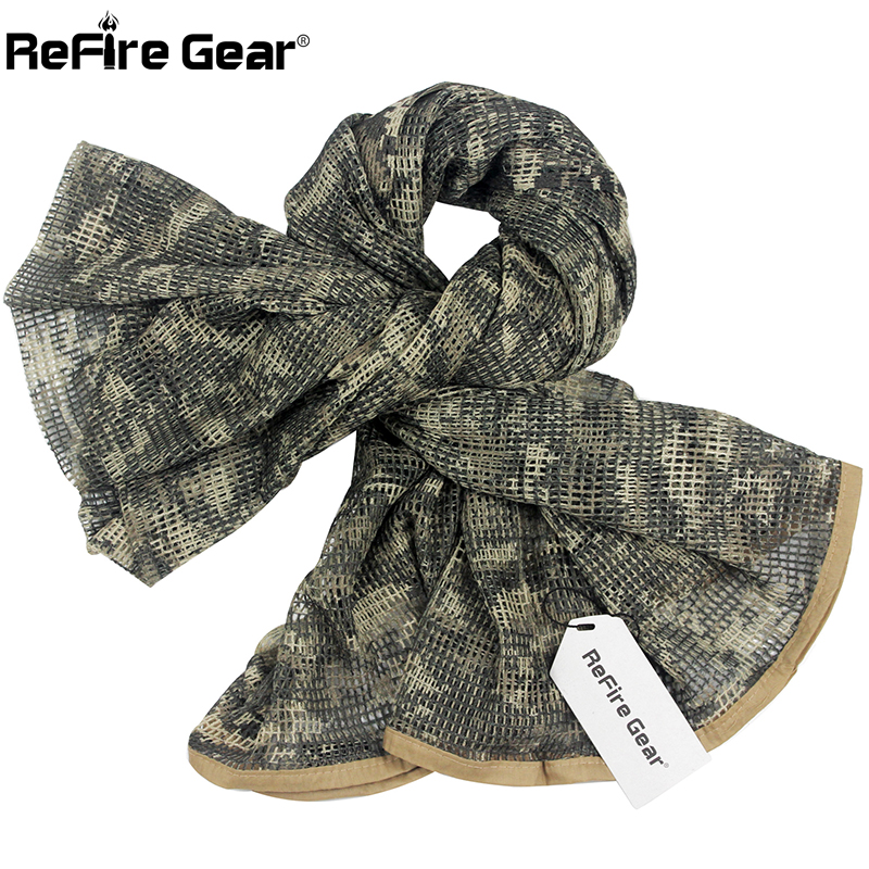 Dynamic Refire Gear Arab Military Tactical Mesh Scarf Men Us Army Soldiers Combat Camouflage Scarves Conceal Camo Shawl Veil Scarf 190cm Men's Scarves