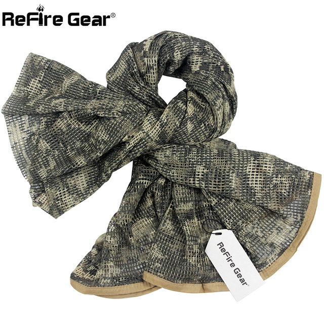 ReFire Gear Arab Military Tactical Mesh Scarf Men US Army Soldiers Combat  Camouflage Scarves Conceal Camo Shawl Veil Scarf 190cm f0343dfe9e5