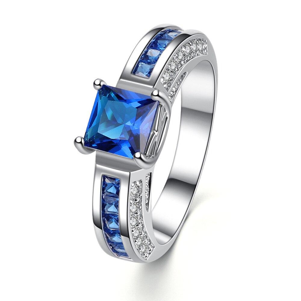 Уникальный Дизайн серебро Цвет перстни Для женщин обручальное Синий Циркон Кристалл Бижутерия Любители Promise Ring