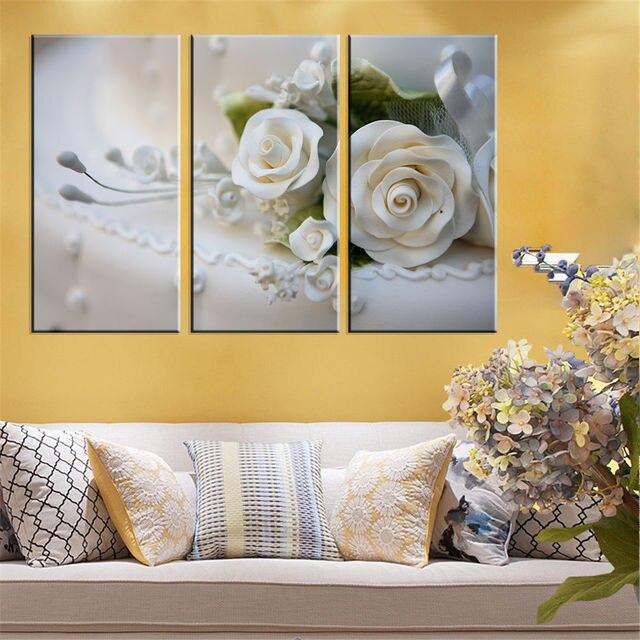 Art Design 3 Panel White Rose Flower Large HD Picture Modern Home ...
