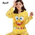 4 Tipos de Otoño Invierno de la Historieta Impresa Pijama de Las Mujeres 2016 linda ropa de Dormir Más El Tamaño de Pijama 2 Unidades Pijamas Traje Pigiama Donna