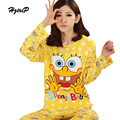 4 Types Autumn Winter Cartoon Printed Pajama Sets Women 2016 Cute Sleepwear Plus Size Pijama 2 Pieces Pyjamas Suit Pigiama Donna